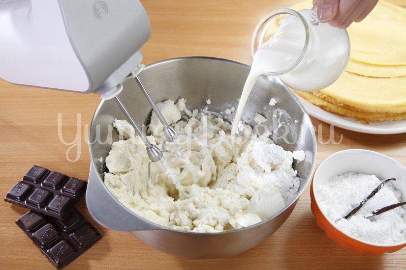 Блины с крем-сыром и шоколадом - шаг 4