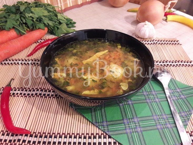 """Лёгкий суп с куриными фрикадельками и яичной """"лапшой"""" - шаг 11"""