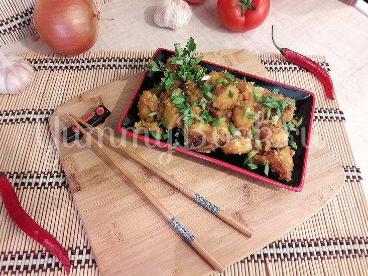 Картофель с соевым соусом и кунжутом  - шаг 9