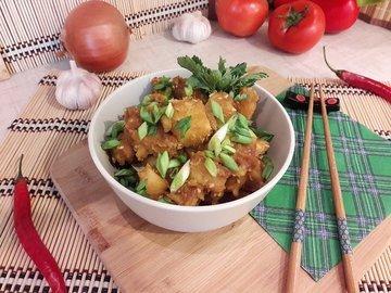 Картофель с соевым соусом и кунжутом