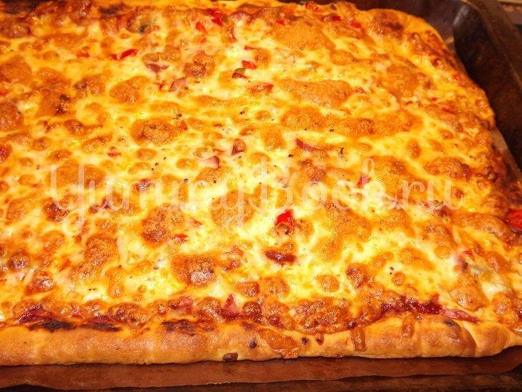 Пицца с помидорами на тесте для итальянской пиццы - шаг 12