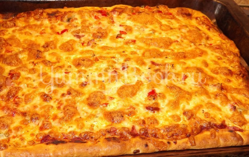 Пицца с помидорами на тесте для итальянской пиццы - шаг 11