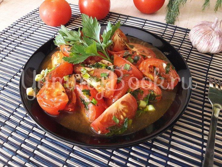 Тушёные помидоры с чесноком и зеленью - шаг 9