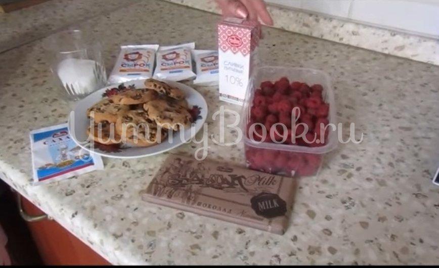Творожно-шоколадный десерт с малиной - шаг 1