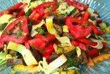Салат с баклажанами и яичными блинчиками