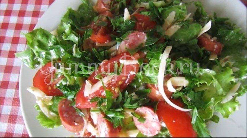 Салат с сыром и охотничьими колбасками - шаг 4