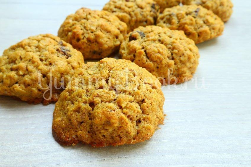 Овсяное печенье с изюмом из овсяных хлопьев