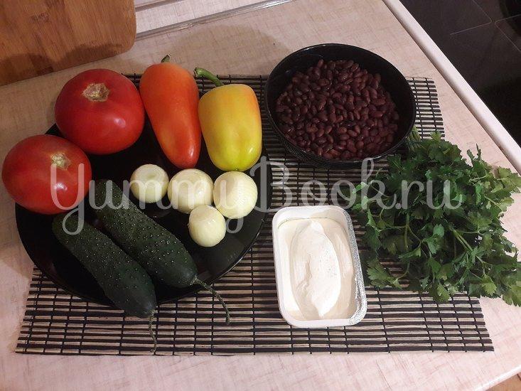 Салат со свежими овощами, фасолью и фетой - шаг 1