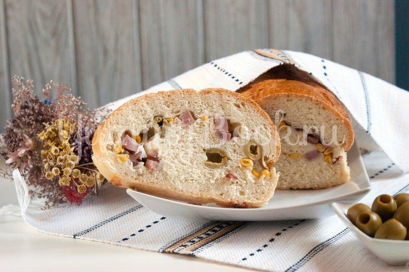 Хлеб с оливками, кукурузой и ветчиной - шаг 7