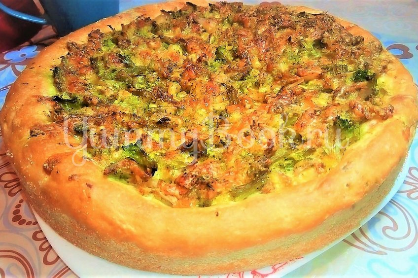 Открытый пирог с брокколи, курицей и сыром