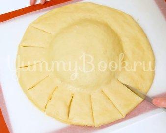 """Праздничный пирог """"Подсолнух"""" с мясом и сыром  - шаг 7"""