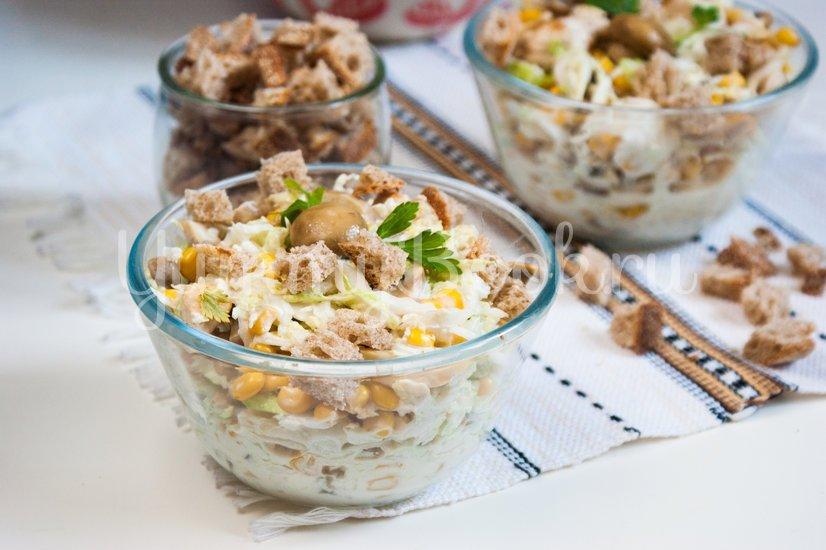 Салат из пекинской капусты, курицы и шампиньонов - шаг 6