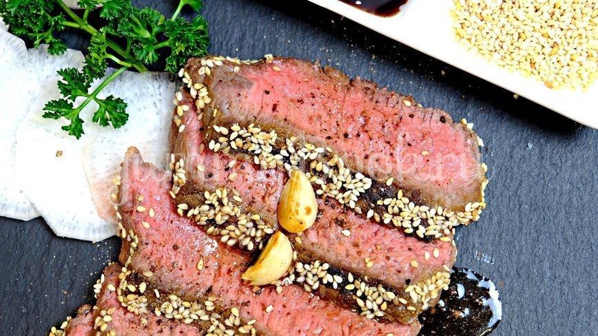 Стейк из говядины с васаби, соевым соусом и кунжутом - шаг 6