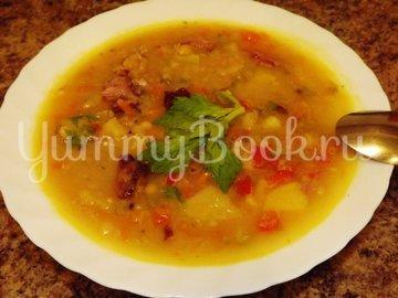 Пряный гороховый суп-похлебка с овощами и копчеными ребрышками - шаг 12