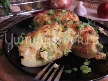 Запечённый фаршированный картофель с копчёной грудкой - шаг 13