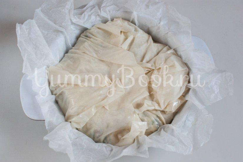Пирог из теста фило со шпинатом, чеддером и фетой - шаг 9