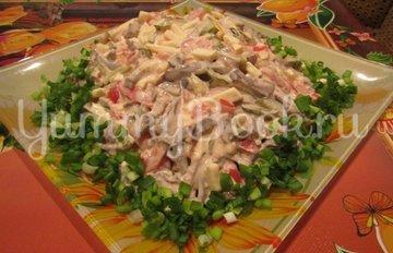 Салат с сердцем, копченым сыром и овощами - шаг 4