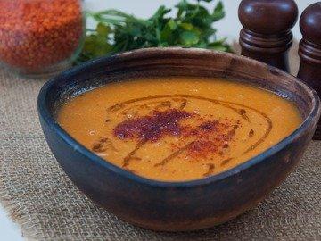 Суп-пюре с чечевицей и тыквой