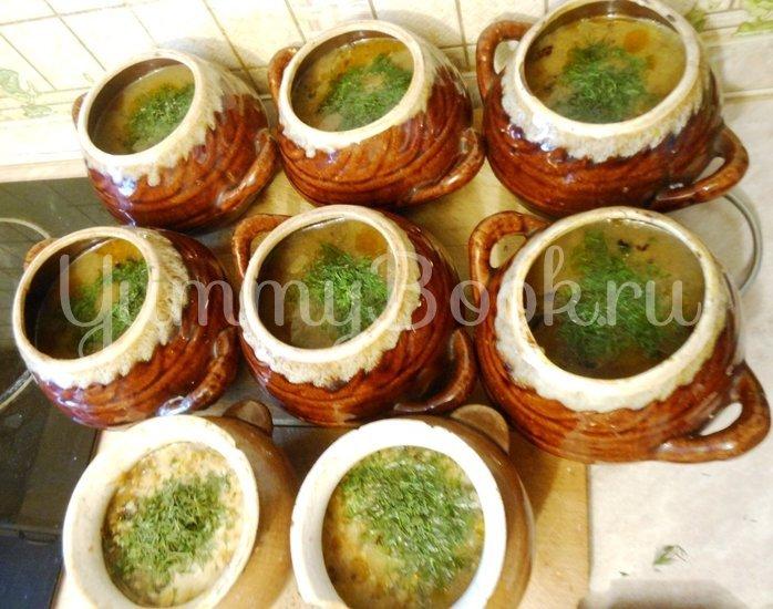 Суп с сушёными грибами и плавленным сырком в духовке - шаг 11