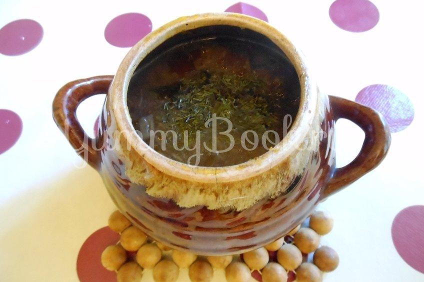 Суп с сушёными грибами и плавленным сырком в духовке