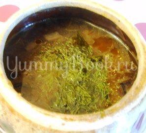 Суп с сушёными грибами и плавленным сырком в духовке - шаг 13