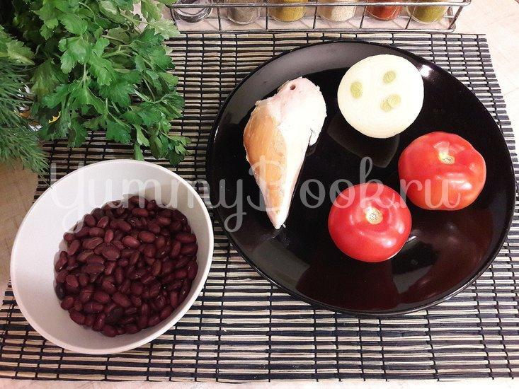 Салат из фасоли, копчёной курицы и помидора - шаг 1