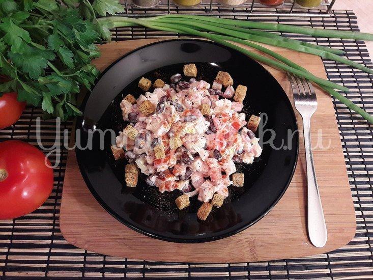 Салат из фасоли, копчёной курицы и помидора - шаг 5