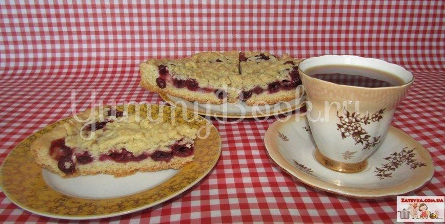 Постный тертый пирог с вишнями  - шаг 7