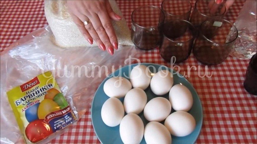 Мраморные яйца-крашенки в рисовой сечке - шаг 1