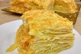 Торт Наполеон из слоеного теста с заварным кремом