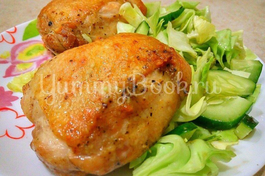 Жареные окорочка на сковороде с чесноком