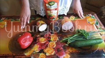 Салат «София» с копченым сыром и ветчиной - шаг 1