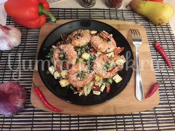 Салат с лангустинами и адыгейским сыром - шаг 6
