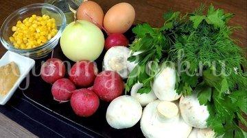Летний сытный салат с редиской без майонеза - шаг 1