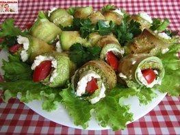 Рулетики из кабачков с плавленым сыром