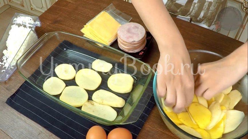 Слоеная Картофельная запеканка с ветчиной и сыром - шаг 6
