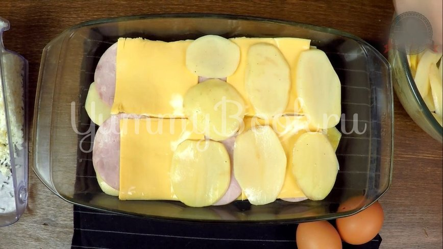 Слоеная Картофельная запеканка с ветчиной и сыром - шаг 7