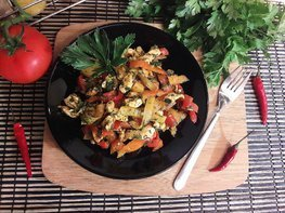 Куриное филе с болгарскими перцами
