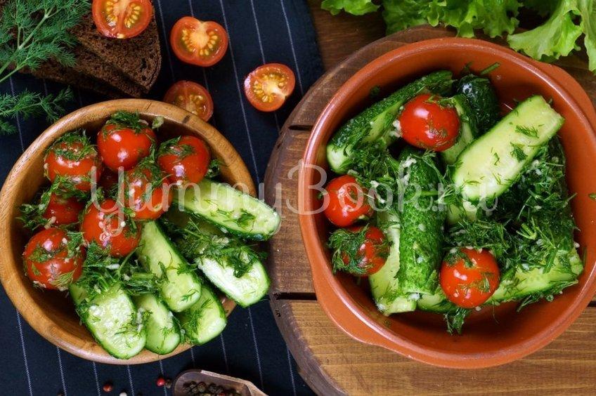 Малосольные огурцы и помидоры по-домашнему