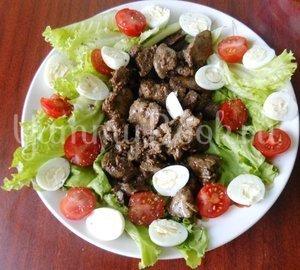 Тёплый салат из куриной печени и помидоров черри - шаг 8