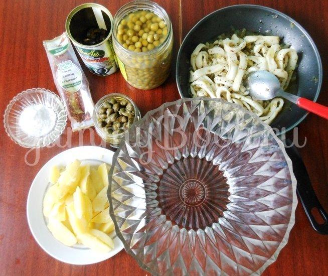 Тёплый салат с кальмарами - шаг 12