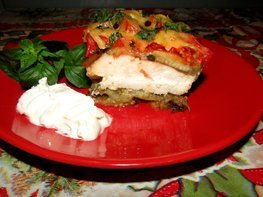 Куриная запеканка с баклажанами и помидорами
