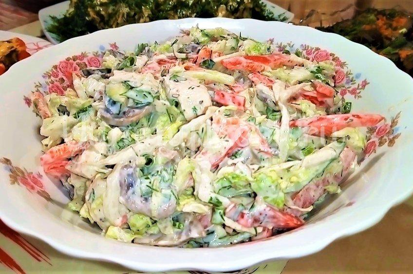 Салат из пекинской капусты с грибами и мясом