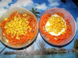 Салат Мясной с кукурузой, морковью и горошком