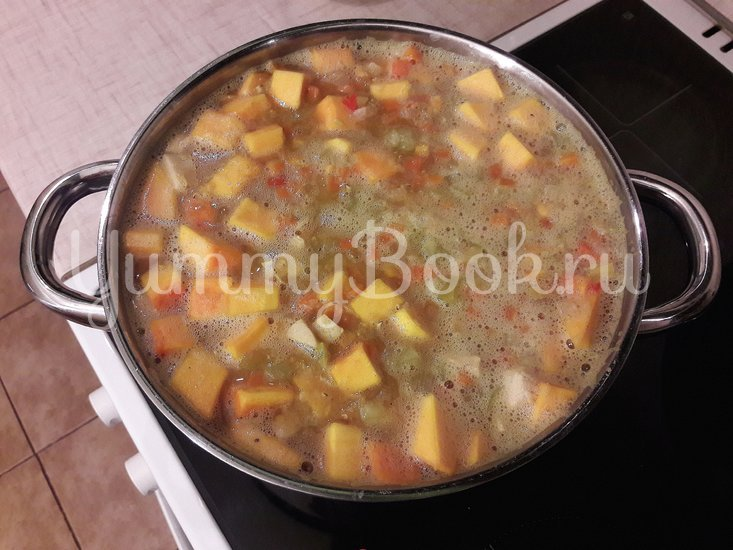 Тыквенно-чечевичный суп с копчёной курицей - шаг 9