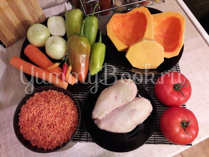 Тыквенно-чечевичный суп с копчёной курицей - шаг 1