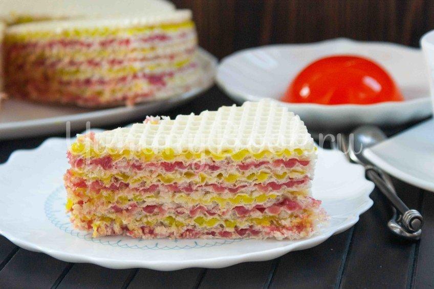 Вафельный торт с желейно-сметанным кремом
