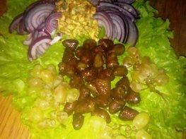 Тёплый салат из куриных сердечек