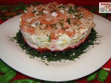 Слоеный салат «Лосось на шубе»
