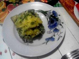 Запеканка из макарон с брокколи, стручковой фасолью и грибами
